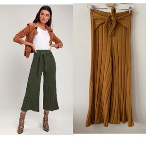 Lush-Mustard Ribbed Knit Tie-Front Culottes